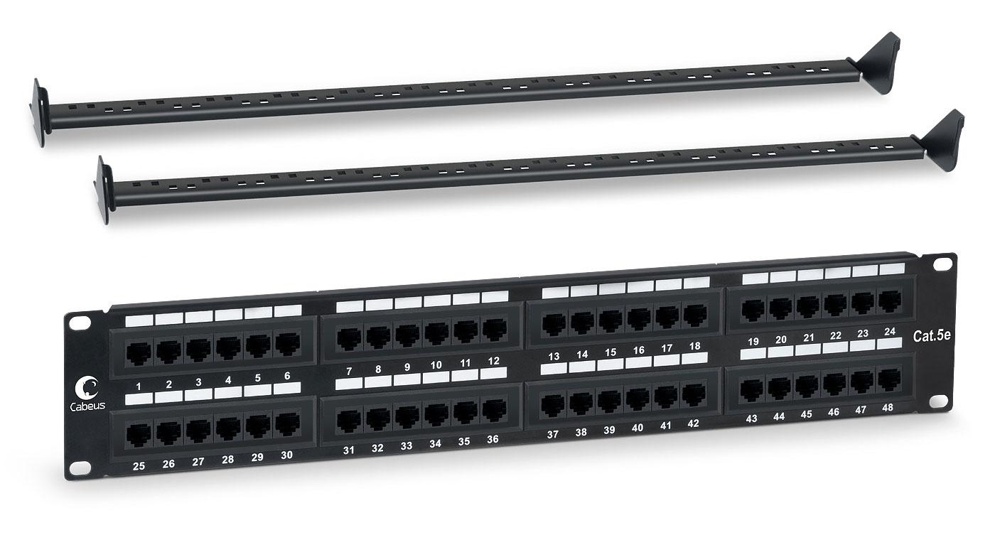 """Cabeus PL-48-Cat.5e-Dual IDC Патч-панель 19"""" (2U), 48 портов RJ-45, категория 5e, Dual IDC, с задним кабельным организатором PL-48-Cat.5e-Dual IDC"""
