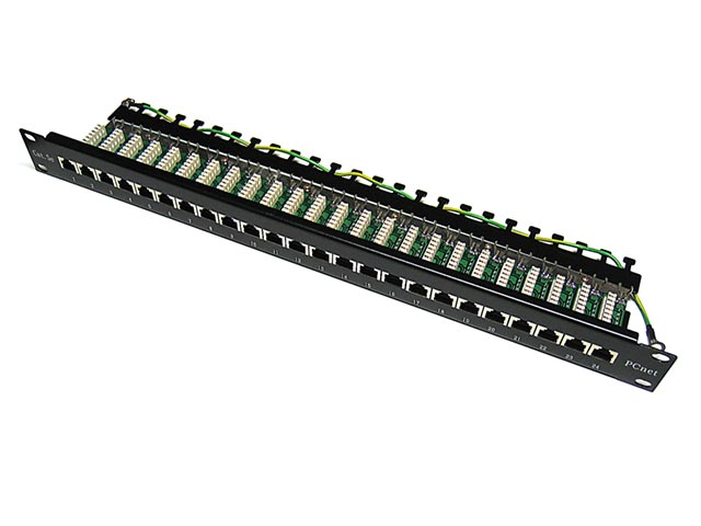 "E-PLVS-24D-OO Патч-панель 19"" 1U 24xRJ45, cat 5е, экранированная, универсальная (PCnet) E-PLVS-24D-OO"