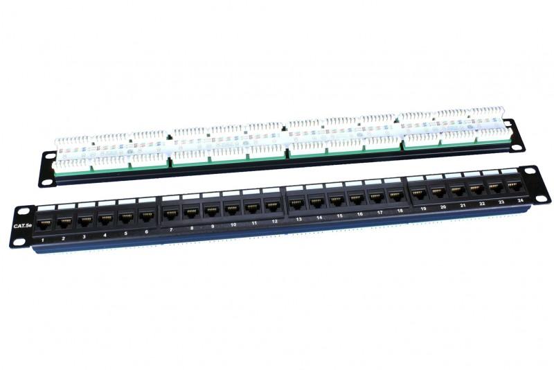 """PP3-19-24-8P8C-C5E-110D Патч-панель 19"""", 1U, 24 порта RJ-45, категория 5e, Dual IDC, ROHS, цвет черный Hyperline PP3-19-24-8P8C-C5E-110D"""
