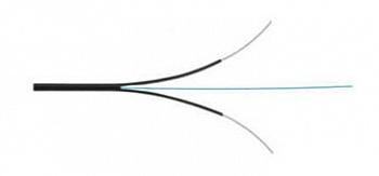 Кабель волоконно-оптический 9/125 (G657.А1) одномодовый, 2 волокна, самонесущий, со свободными волокнами (FTTH), гибкий (мин. стат. радиус изгиба 15 мм), для внутренней прокладки, LSZH, –30°C – +70°C, черный